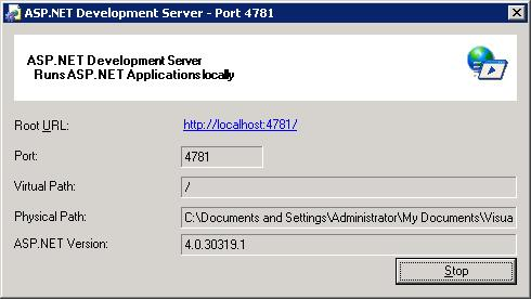 My ASP.NET MVC 2 Application hosted in the Web Development Server