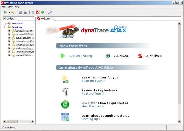 Dynatrace AJAX Edition after Startup