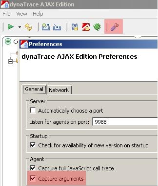 Turn on Argument Capuring in the Preferences Dialog