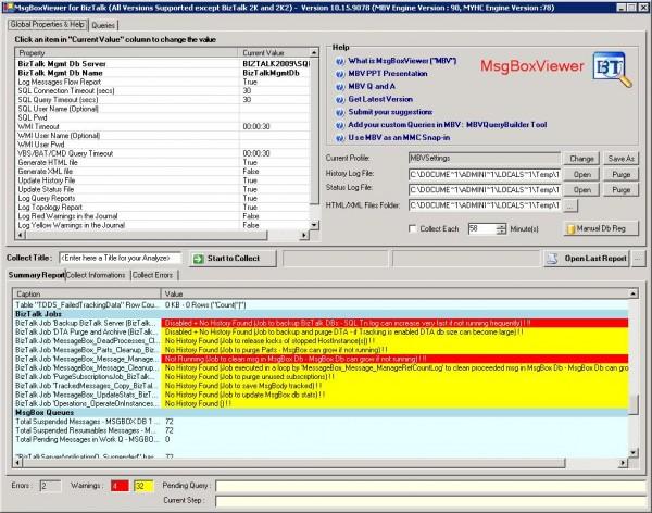 Analysis Output in BizTalk MessageBox Viewer Tool