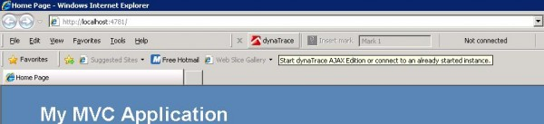 Connect the browser to the dynaTrace AJAX Edition to capture browser activity such as JavaScript, Network, Rendering, ...