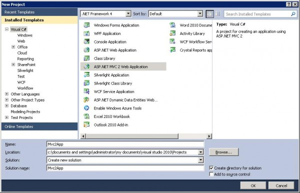 Create a new ASP.NET MVC 2 Project in Visual Studio 2010