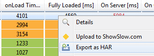 Export captured Network Traffic to HAR