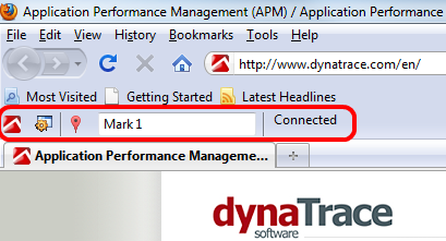 FireFox Add-On installs a Toolbar to connect to Dynatrace AJAX Edition