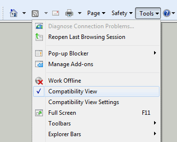 Enabling IE Compatibility Mode to simulate IE7 behavior in IE8