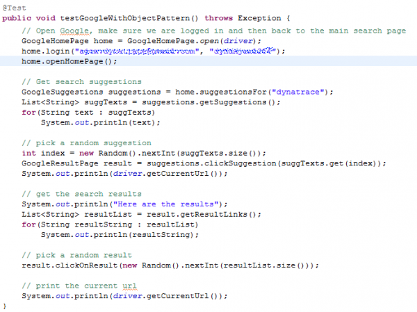 JUnit Test Case that tests the Google Search Scenario using Page Object Pattern