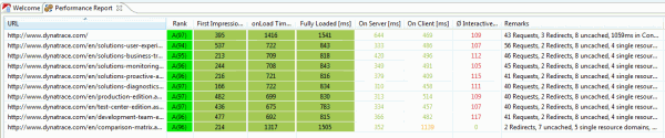 dynaTrace AJAX Performnance Report giving us good grades on the new web site