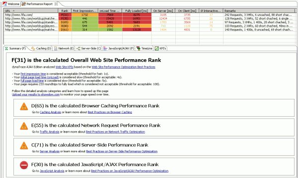 Performance Report showing Key Performance Indicators, Ranks and Remarks for every page