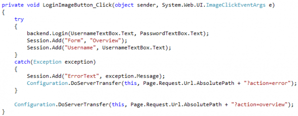PostBack triggers Login Button Event Handler which does user authentication and redirects depending on logon success