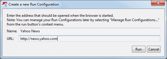 Run Configurations are persistet and allow us to test the same site again without re-entering the URL
