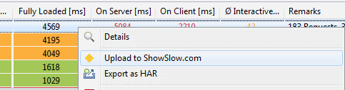Upload Performance Data to a Show Slow Instance