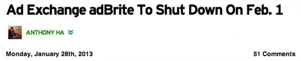 Announcement of the adBrite Shutdown