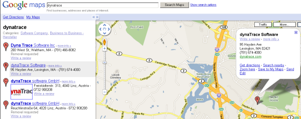 Google Map Dynatrace