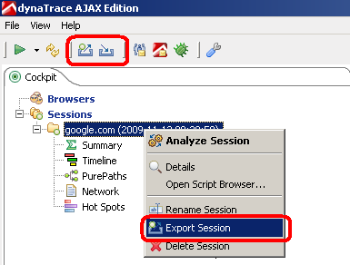 Export and Import dynaTrace AJAX Sessions