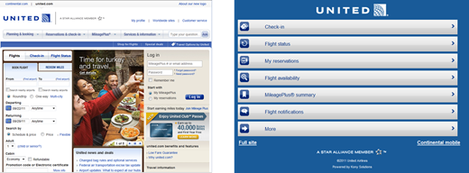 Desktop and Mobile website of united