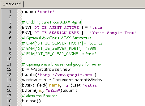 Watir Script testing Google with enabled Dynatrace AJAX Agent