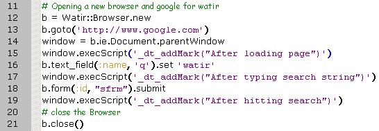 Watir Script calling Dynatrace Marker Method